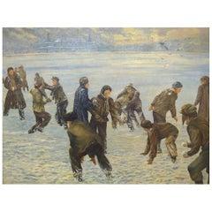 Johannes Nielsen, Winter Scene from Copenhagen, Snowball fight, Oil on canvas.