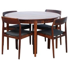 Johannes Nørgaard Rosewood Dining Set with 4 Chairs and Round Extending Table
