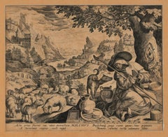 Malchus of Chalcis as Hermit - Original Etching by Johannes Sadeler