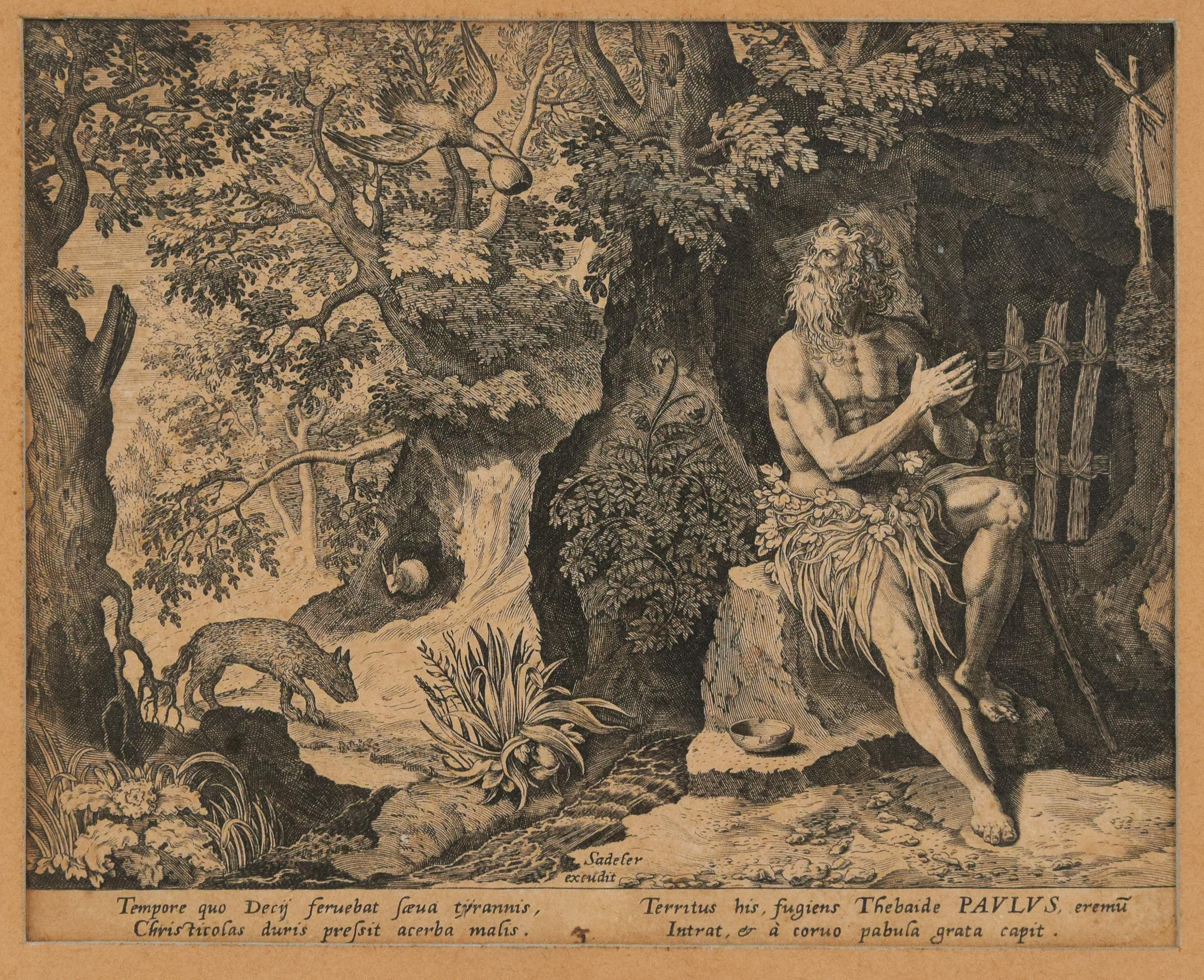 Paulus the Hermit - Original Etching by Johannes Sadeler