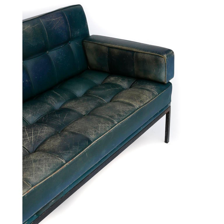Johannes Spalt 'Constanze' Sofa Daybed Armrests, Patinated Green Leather, 1960s 3