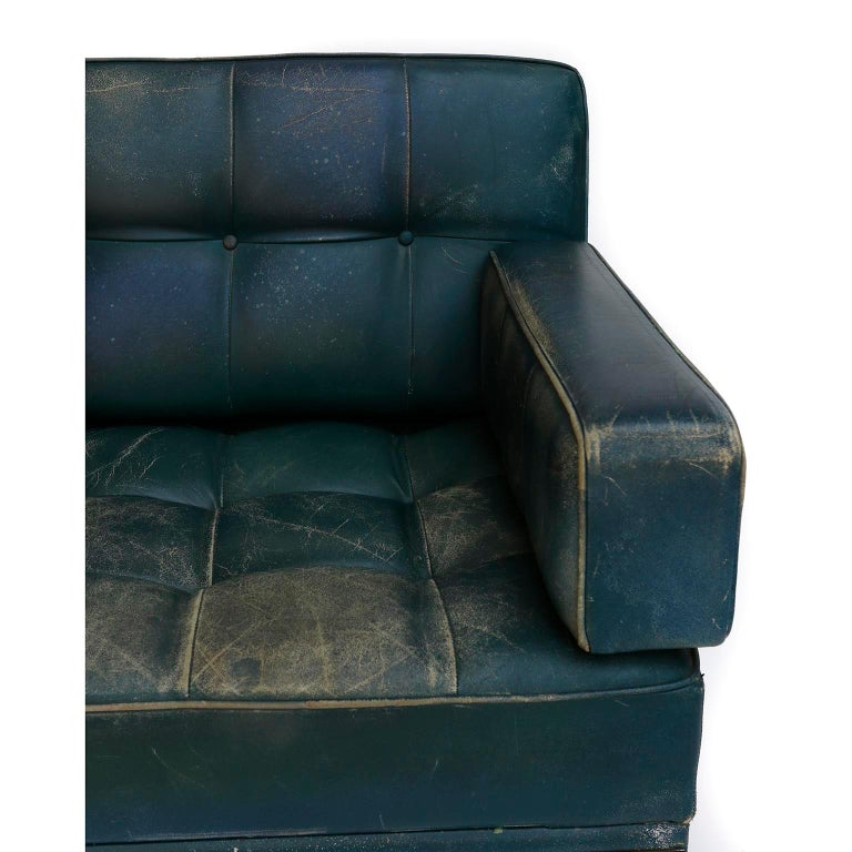 Johannes Spalt 'Constanze' Sofa Daybed Armrests, Patinated Green Leather, 1960s 4
