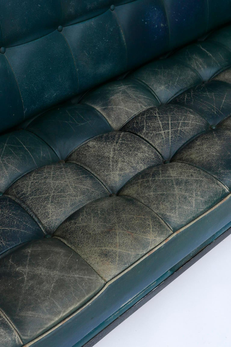 Johannes Spalt 'Constanze' Sofa Daybed Armrests, Patinated Green Leather, 1960s 6