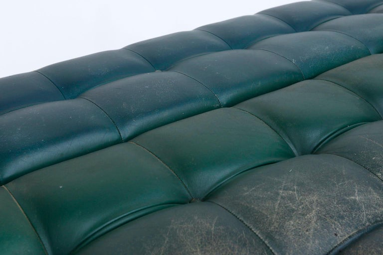 Johannes Spalt 'Constanze' Sofa Daybed Armrests, Patinated Green Leather, 1960s 9