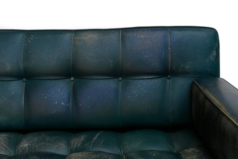 Johannes Spalt 'Constanze' Sofa Daybed Armrests, Patinated Green Leather, 1960s 10