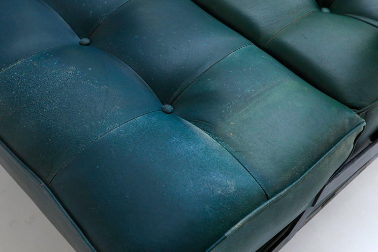 Johannes Spalt 'Constanze' Sofa Daybed Armrests, Patinated Green Leather, 1960s 11