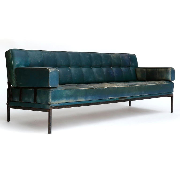 Austrian Johannes Spalt 'Constanze' Sofa Daybed Armrests, Patinated Green Leather, 1960s