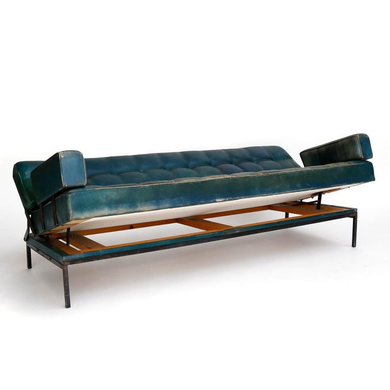 Johannes Spalt 'Constanze' Sofa Daybed Armrests, Patinated Green Leather, 1960s In Fair Condition In Vienna, AT
