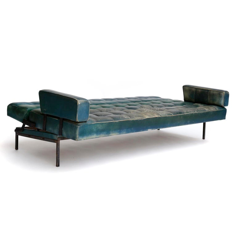Mid-20th Century Johannes Spalt 'Constanze' Sofa Daybed Armrests, Patinated Green Leather, 1960s