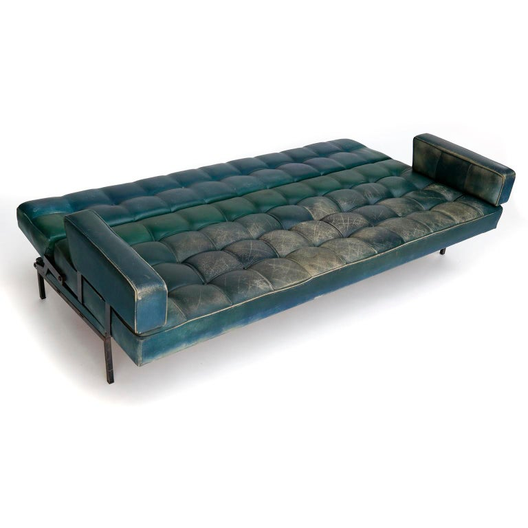 Metal Johannes Spalt 'Constanze' Sofa Daybed Armrests, Patinated Green Leather, 1960s