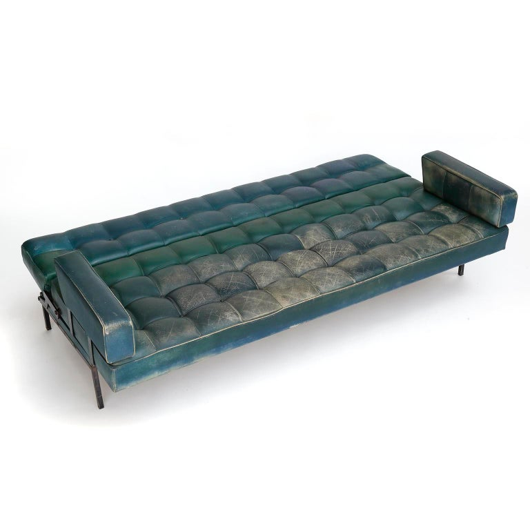 Johannes Spalt 'Constanze' Sofa Daybed Armrests, Patinated Green Leather, 1960s 1