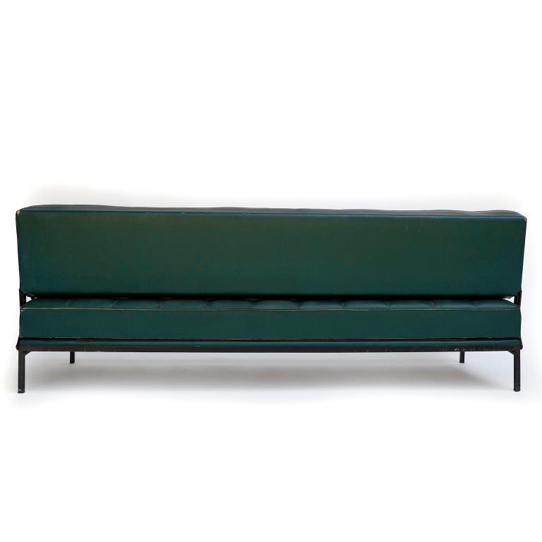 Johannes Spalt 'Constanze' Sofa Daybed Armrests, Patinated Green Leather, 1960s 2