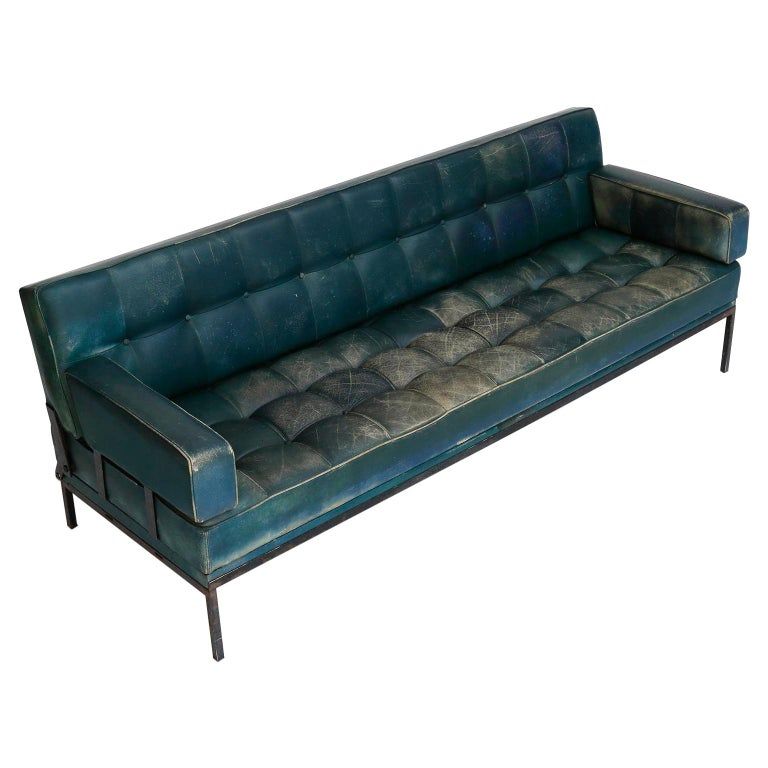 Johannes Spalt 'Constanze' Sofa Daybed Armrests, Patinated Green Leather, 1960s