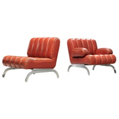 Johannes Spalt Lounge Chair in Red Leather