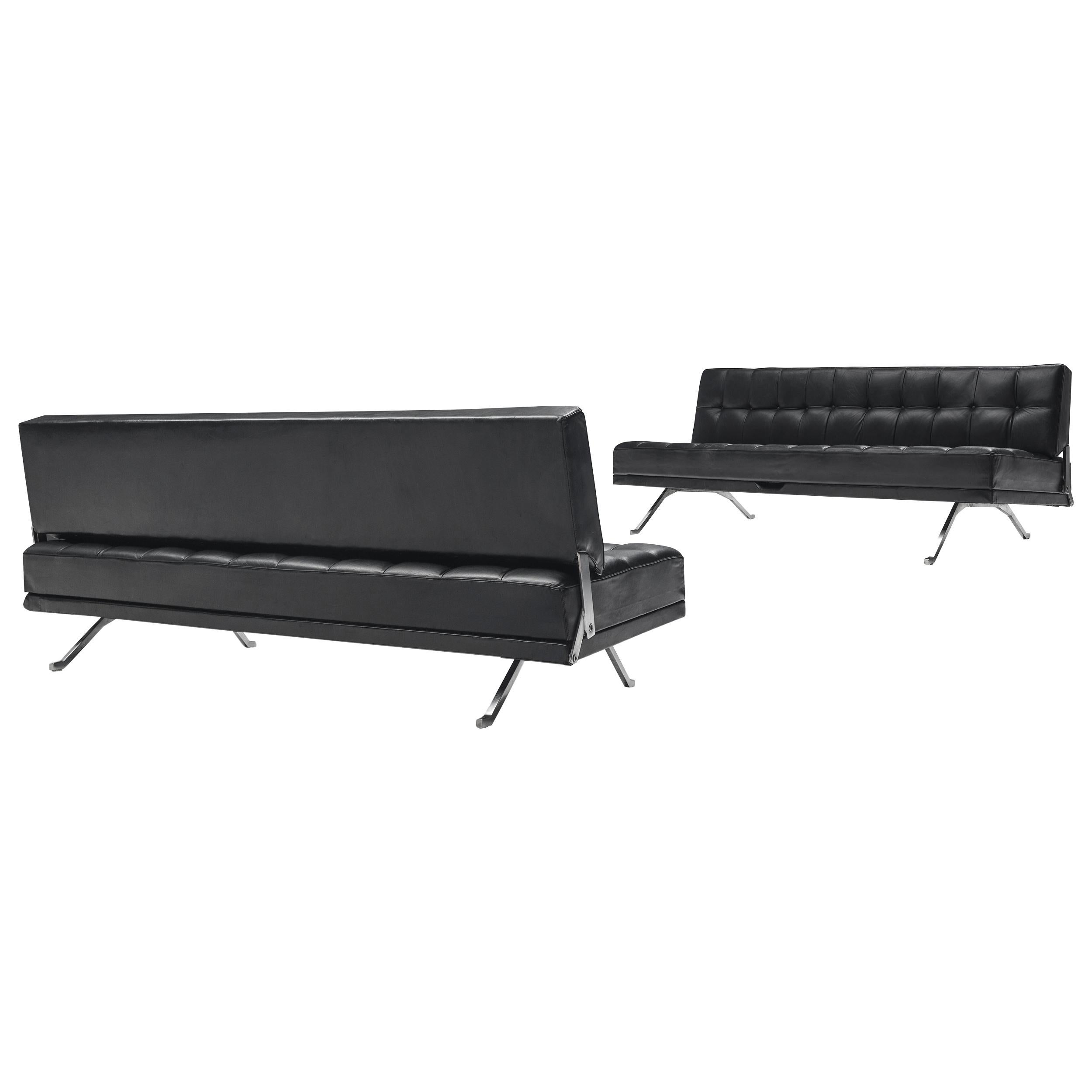 Johannes Spalt Pair of Black Leather 'Constanze' Sofas or Daybeds