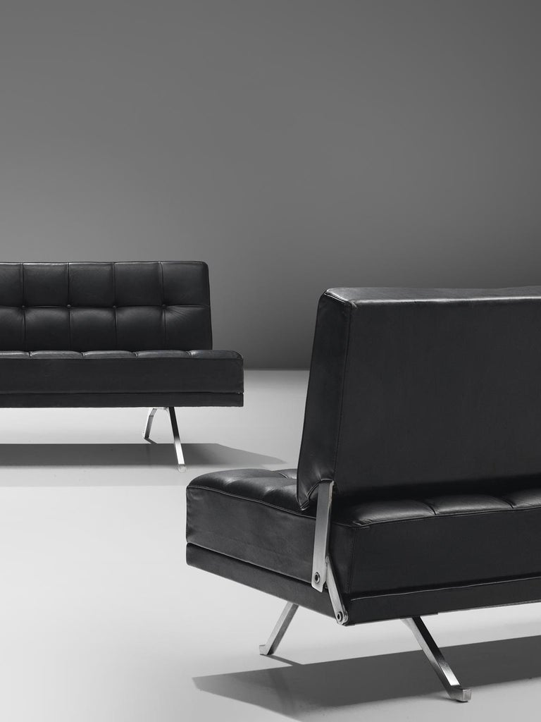 Johannes Spalt Pair Of Constanze Sofa In Black Leather