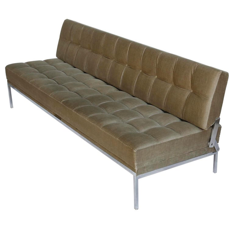 Mid-Century Modern Johannes Spalt Tufted Sofa Daybed 'Constanze' Wittmann, Gray Green Velvet, 1960s For Sale