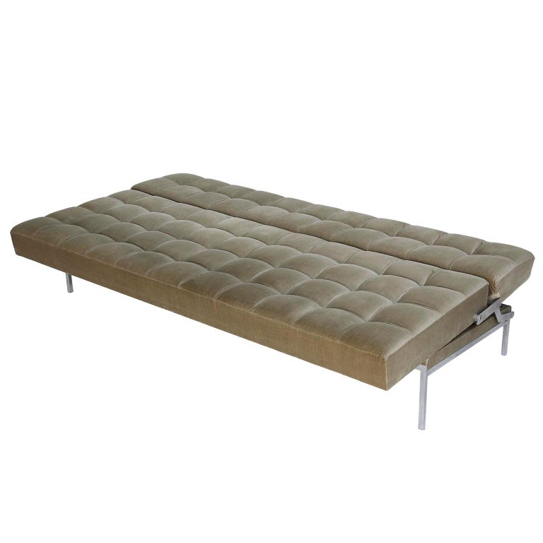 Mid-20th Century Johannes Spalt Tufted Sofa Daybed 'Constanze' Wittmann, Gray Green Velvet, 1960s For Sale