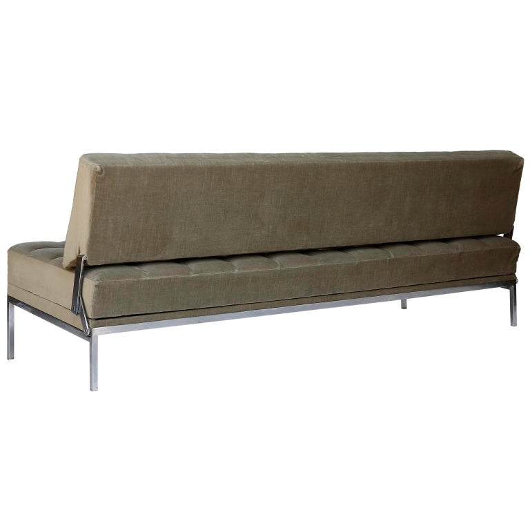 Cord Johannes Spalt Tufted Sofa Daybed 'Constanze' Wittmann, Gray Green Velvet, 1960s For Sale