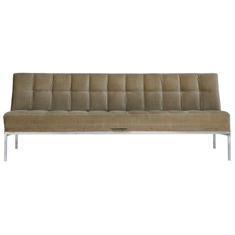 Johannes Spalt Tufted Sofa Daybed 'Constanze' Wittmann, Gray Green Velvet, 1960s For Sale