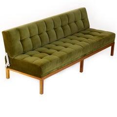 Johannes Spalt Tufted Sofa Daybed Constanze Wittmann Green Velvet Wood 1960