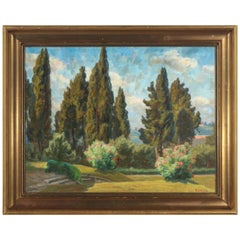 Johannes Wilhjelm View from a Park over Florence, Signed and Dated JW 24