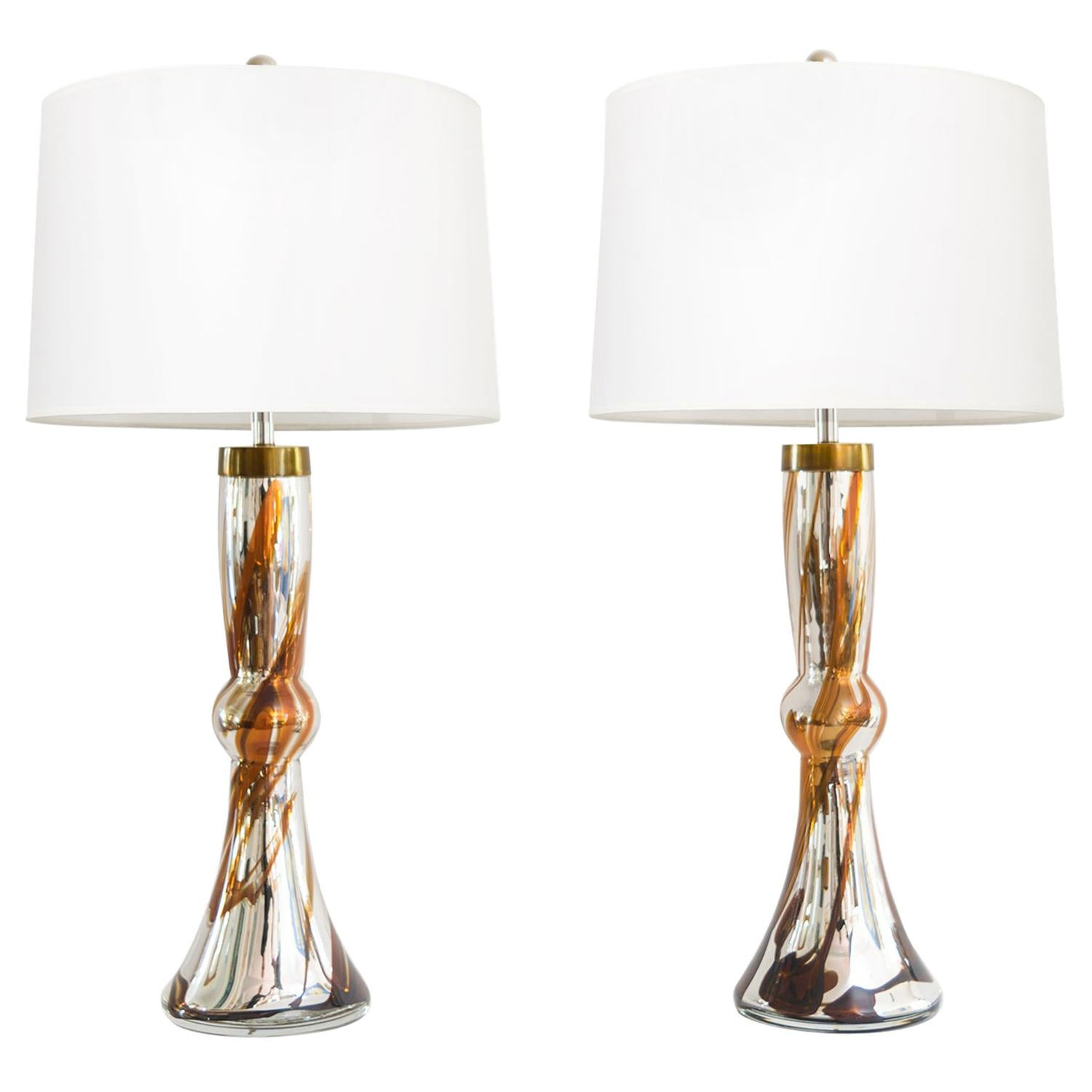 Johansfors Pair of Mid-Century Modern Mercury Glass Lamps with Amber Details