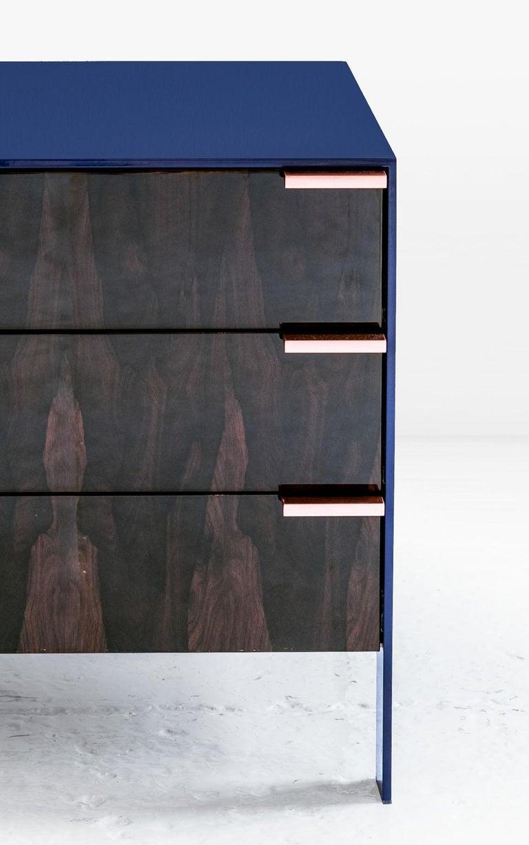 American Johansson Cabinet / End Table, Deep Violet Lacquered Aluminum, Ziricote, Copper For Sale