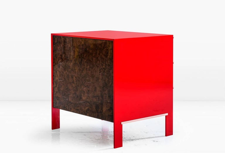 Johansson Cabinet / End Table, Red Lacquered Aluminum, Walnut Burl, Copper Pulls In New Condition For Sale In New York, NY