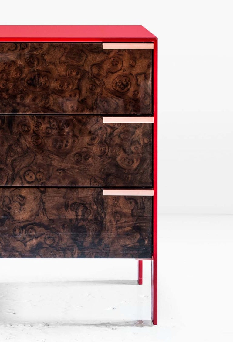 Johansson Cabinet / End Table, Red Lacquered Aluminum, Walnut Burl, Copper Pulls For Sale 1
