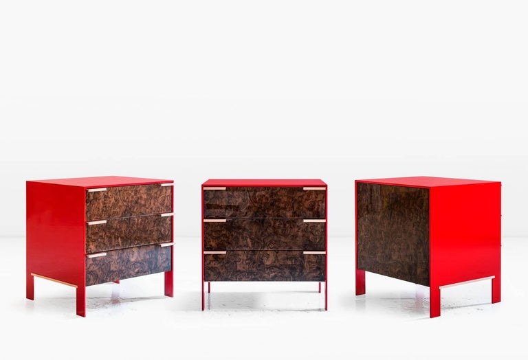 Johansson Cabinet / End Table, Red Lacquered Aluminum, Walnut Burl, Copper Pulls For Sale 2