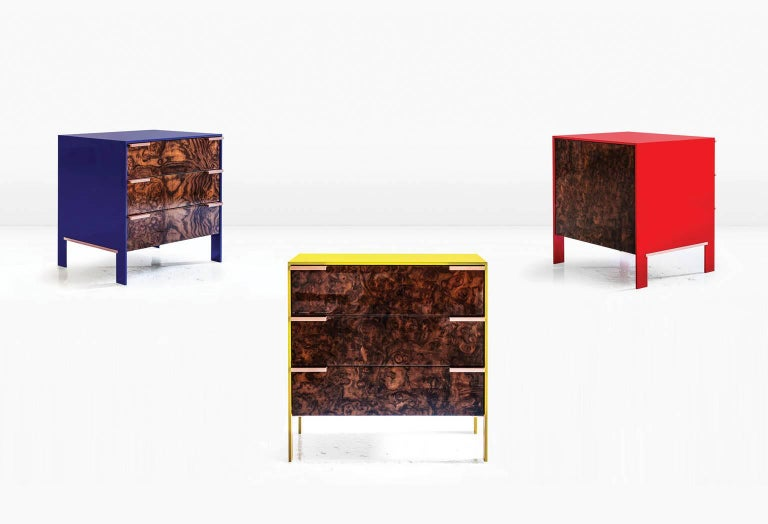 Johansson Cabinet / End Table, Red Lacquered Aluminum, Walnut Burl, Copper Pulls For Sale 3