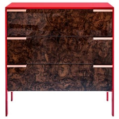 Johansson Cabinet / End Table, Red Lacquered Aluminum, Walnut Burl, Copper Pulls