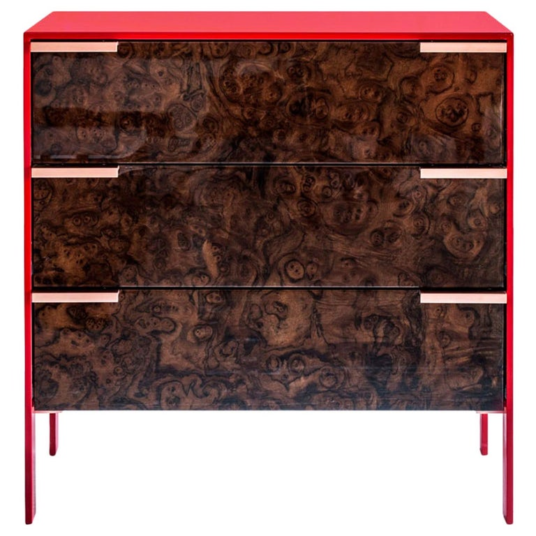 Johansson Cabinet / End Table, Red Lacquered Aluminum, Walnut Burl, Copper Pulls For Sale