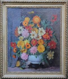 Scottish Floral - Scottish art 1920's oil painting still life floral arangement
