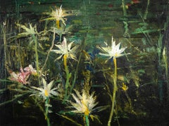 John Alexander, Windmill Spring, 1991, painting, oil on canvas, lily pond