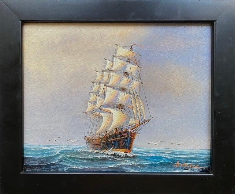 """Three Mast, Square Rigger"" - Painting by John Ambrose RSMA"