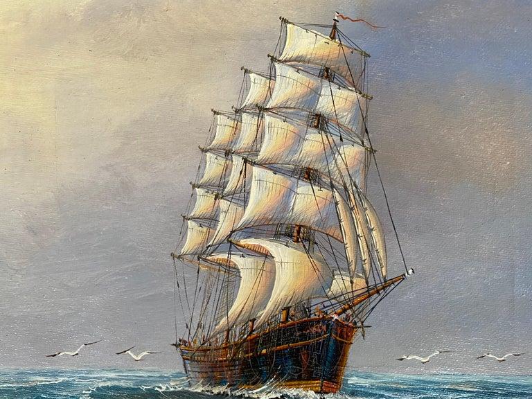 """Three Mast, Square Rigger"" - Realist Painting by John Ambrose RSMA"