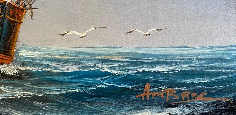 """Three Mast, Square Rigger"" - Gray Landscape Painting by John Ambrose RSMA"