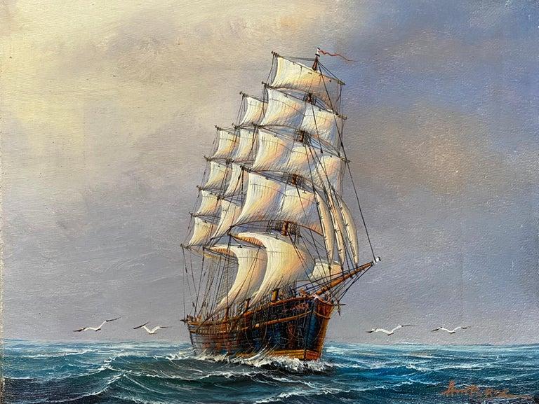"John Ambrose RSMA Landscape Painting - ""Three Mast, Square Rigger"""