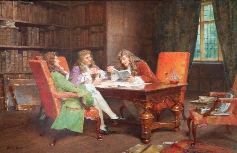 John Arthur Lomax Figurative Painting - The Debate, A Gentleman's Meeting Genre Painting by Arthur Lomax 19th / 20th C