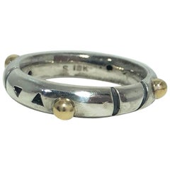 John Atencio 18 Karat Sterling Silver Contemporary Stacking Ring