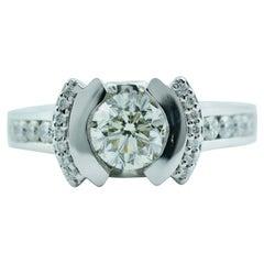 John Atencio 18 Karat White Gold GIA Round Diamond Engagement Ring