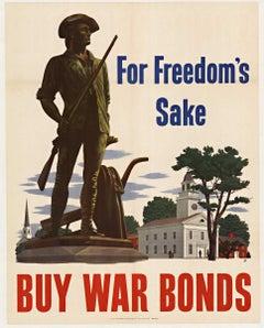 For Freedom's Sake Buy War Bonds, original World War 2 vintage poster