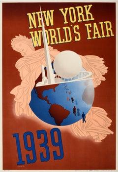 Original Vintage Poster New York World's Fair 1939 Libertas Roman Goddess Globe