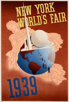 Original Vintage Travel Poster New York World's Fair Trylon Perisphere Libertas