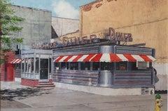 "JOHN BAEDER, ""Empire Diner"" realist NYC urban watercolor"