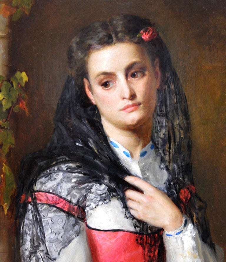 This is a fine 19th century portrait of a Spanish beauty standing in an alcove by the eminent Victorian artist John Bagnold Burgess RA (1829-1897). 'The Black Mantilla' is presented in an original mid-19th century carved giltwood frame. John Bagnold