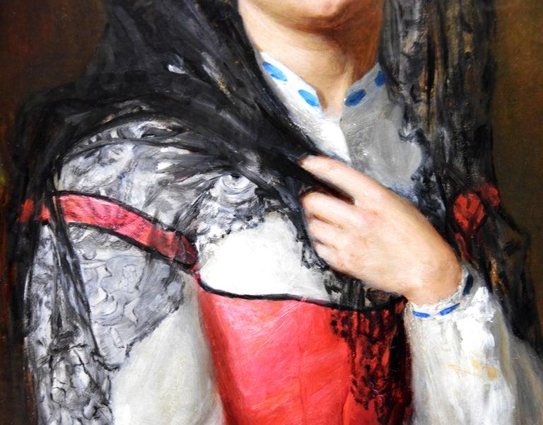 The Black Mantilla - 19th Century Victorian Oil Painting Portrait Spanish Beauty For Sale 1