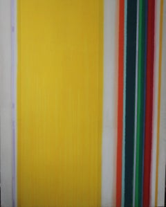 Abstract Composition in Yellow, Green, Red, Blue - Sixties British landscape oil